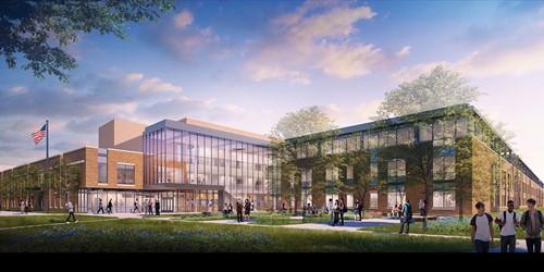 An exterior rendering of the new Upper Arlington High School