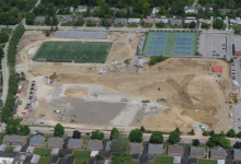 Initial construction work on the high school site as of May 21, 2019