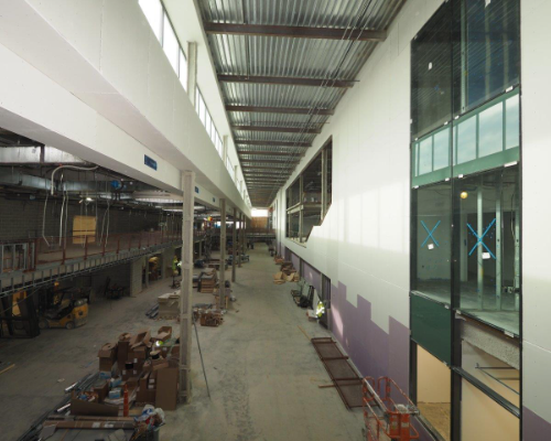 Looking down the main boulevard in the new Upper Arlington High School