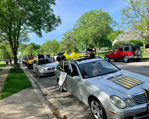 Cars lined up for the Class of 2020 car parade