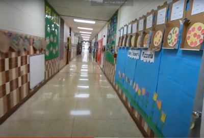 Looking down the hallway of Greensview Elementary School