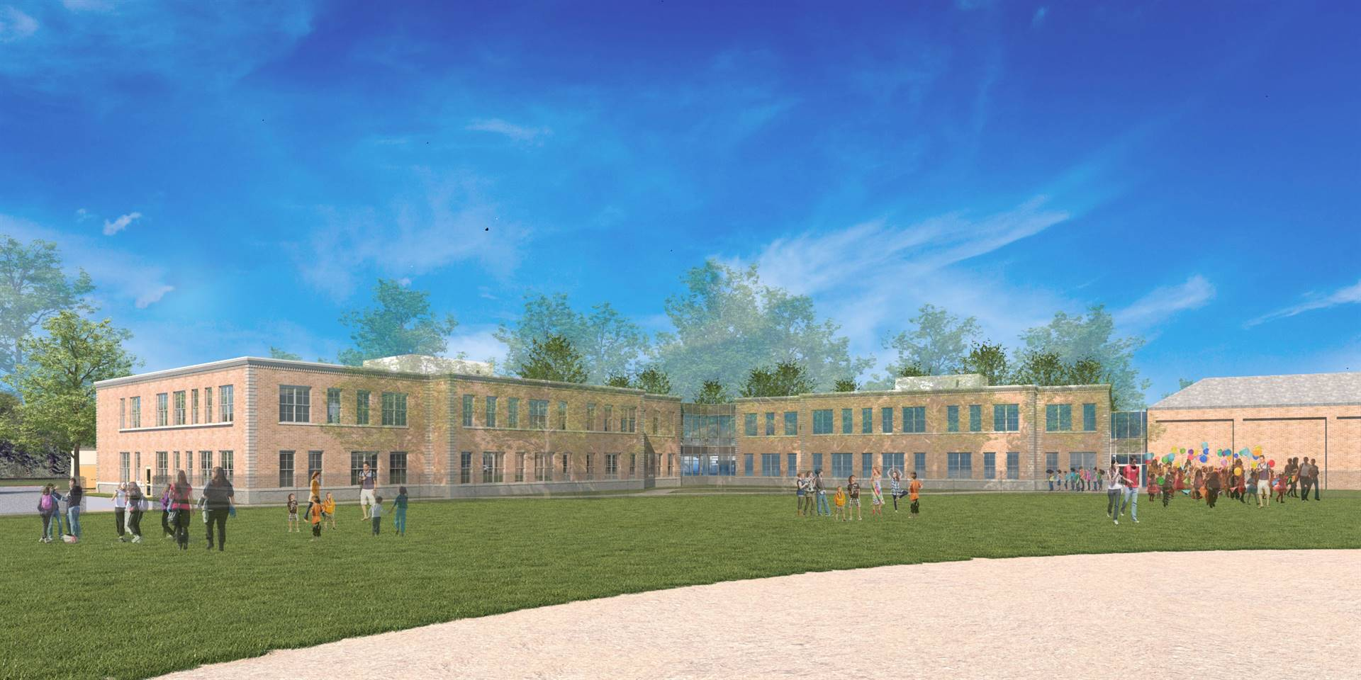 A rendering showing the new addition to Barrington Elementary School