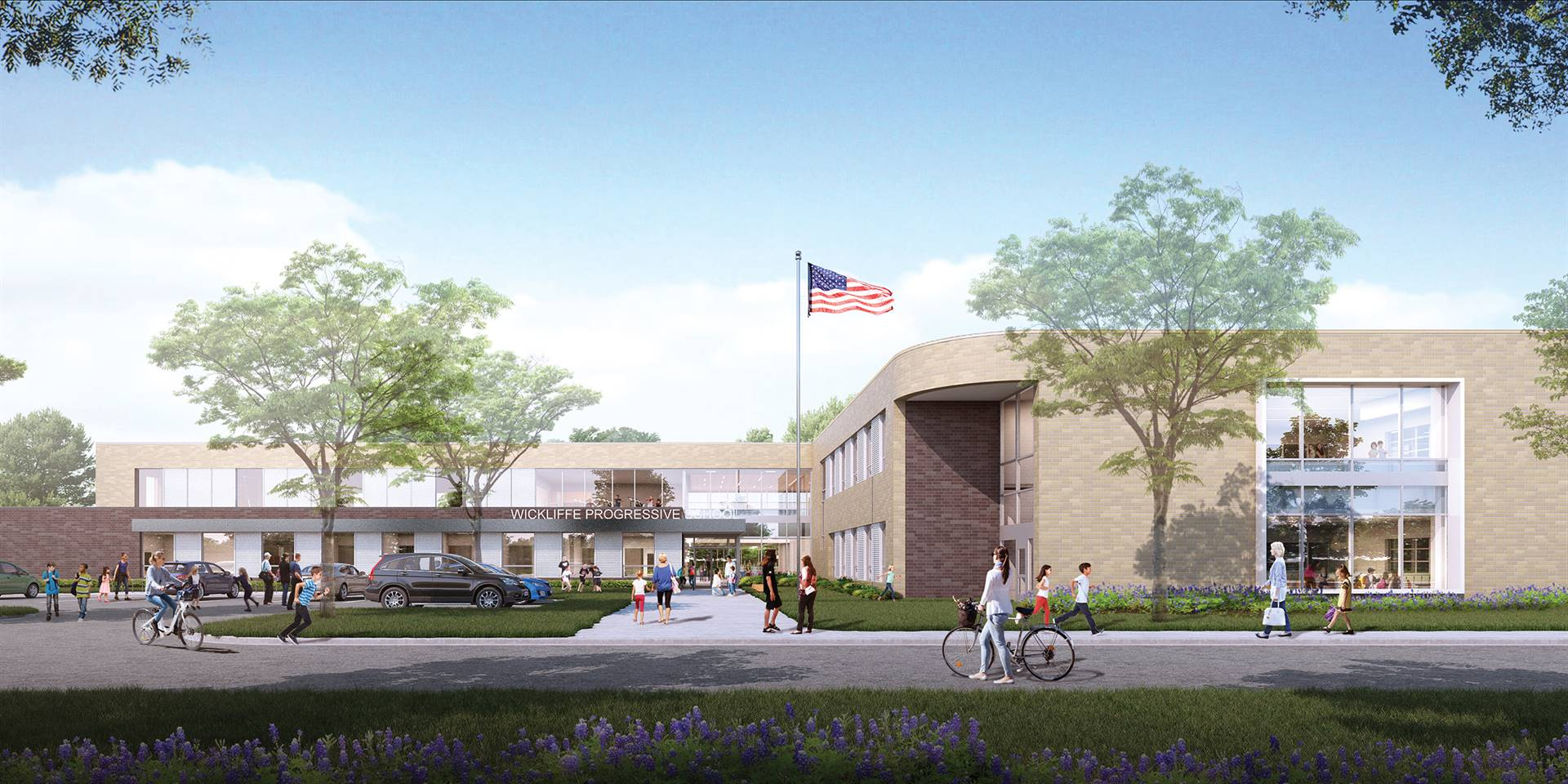 A rendering showing the new main entry to Wickliffe Progressive Elementary School