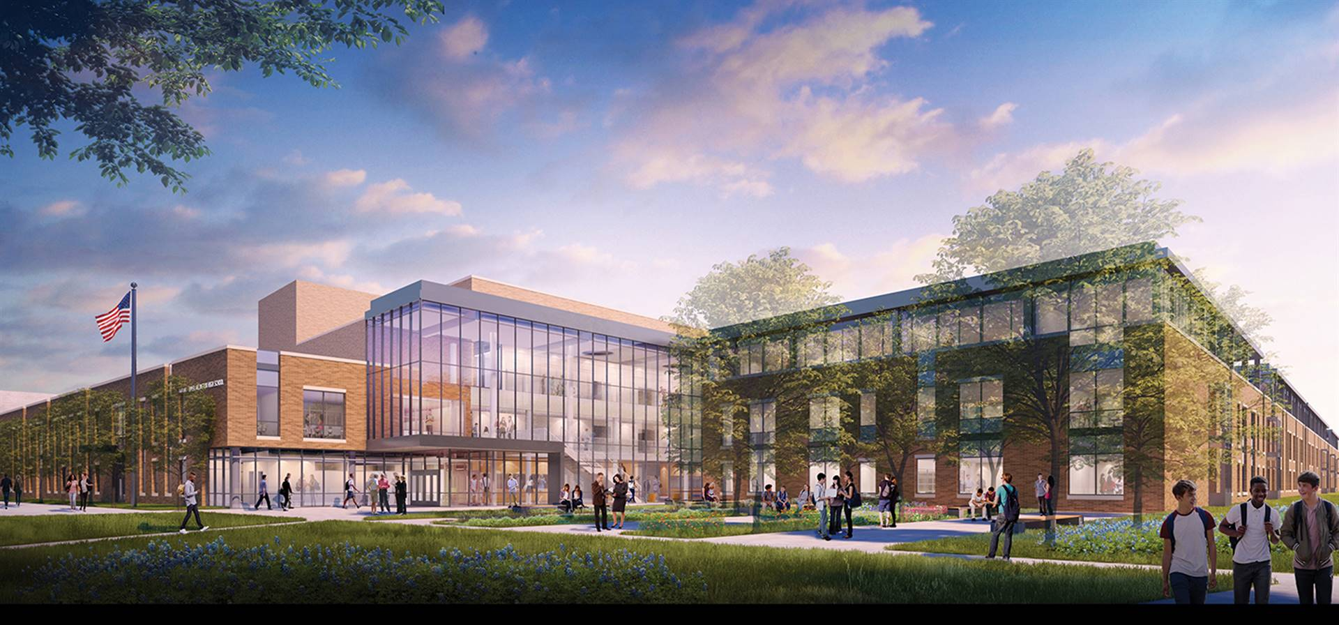 A rendering of the main entry to a new Upper Arlington High School
