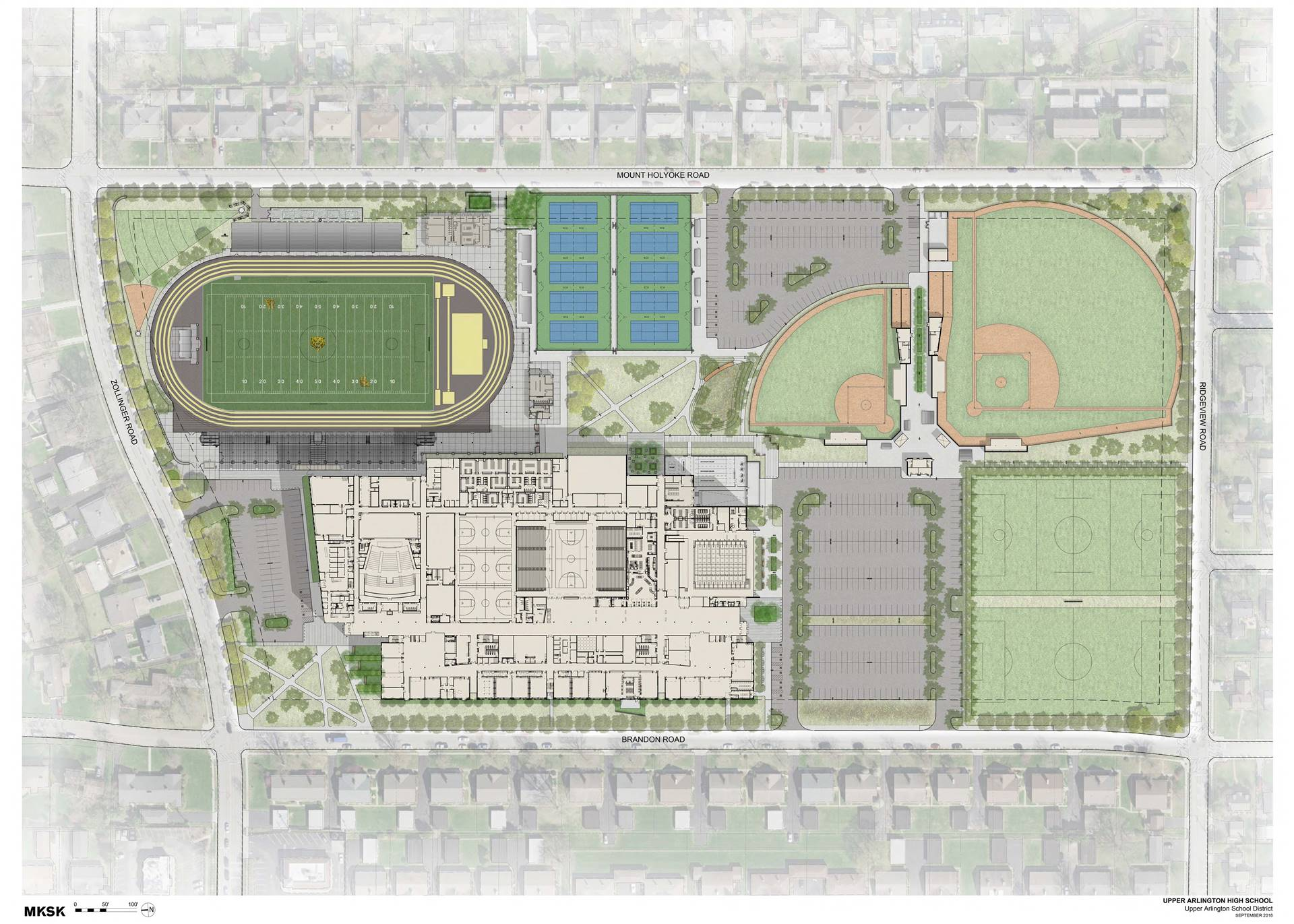 A site plan situating the school on the northwest portion of the site and athletic fields to the sou