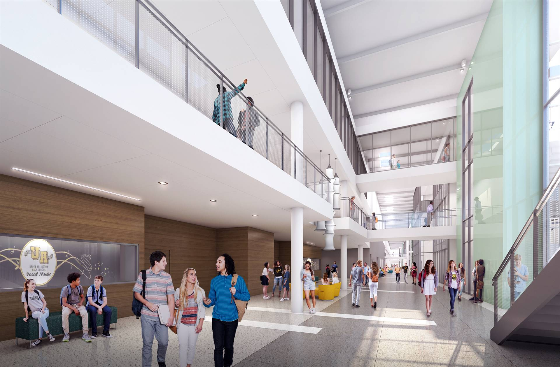 A view of Golden Bear Boulevard inside the new school, dividing the three story academic wing and pu