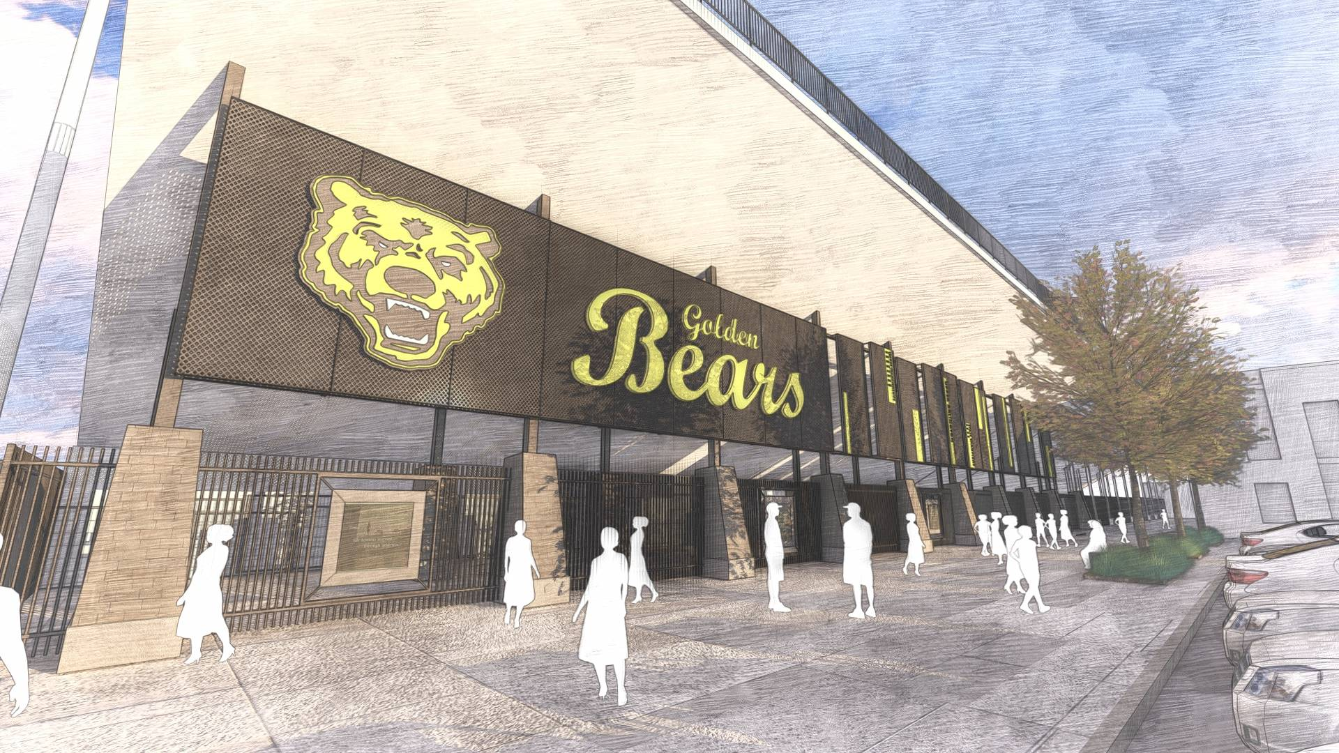 A new north stadium entrance with Golden Bears logos