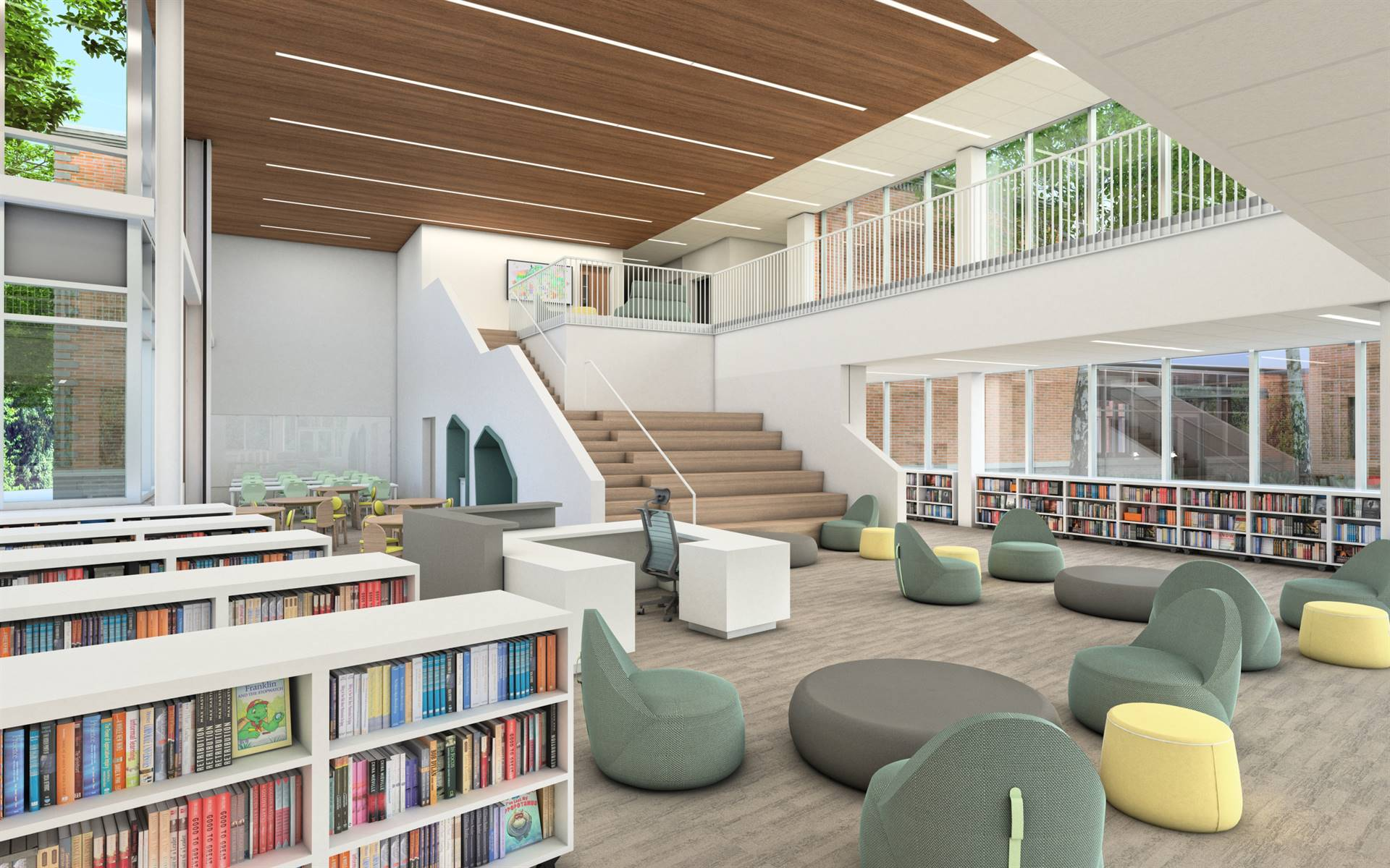 An interior view of the new media center, with a learning staircase and flexible furniture