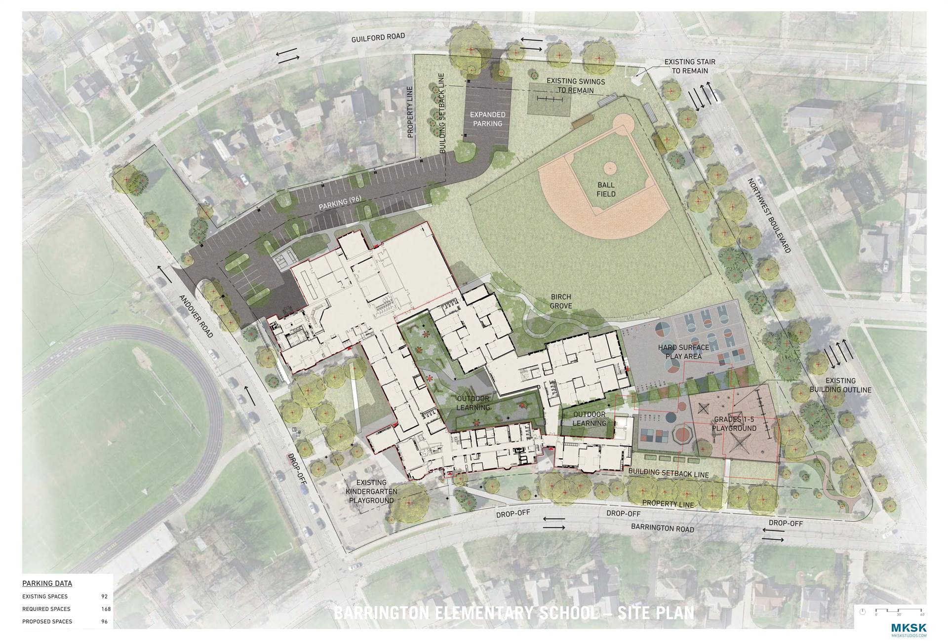 The overall site plan for Barrington Elementary School