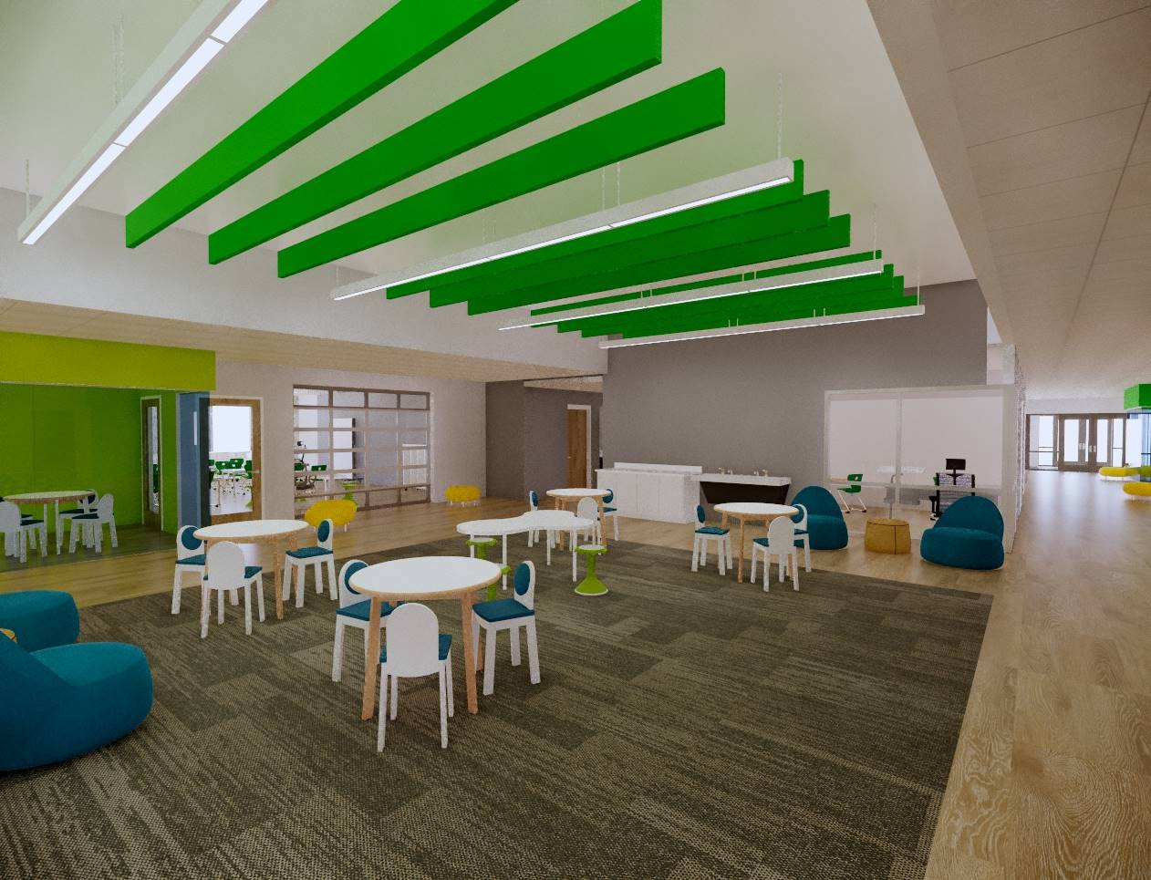Seating and tables in a learning commons off classrooms