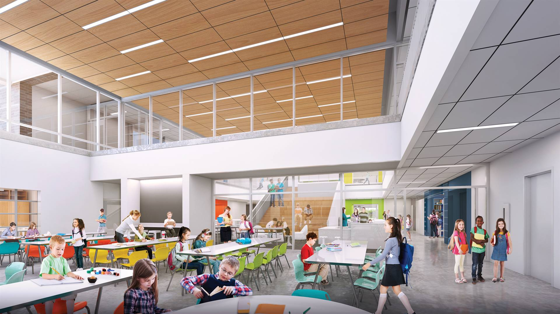 A rendering of tables and chairs in the commons space inside Windermere