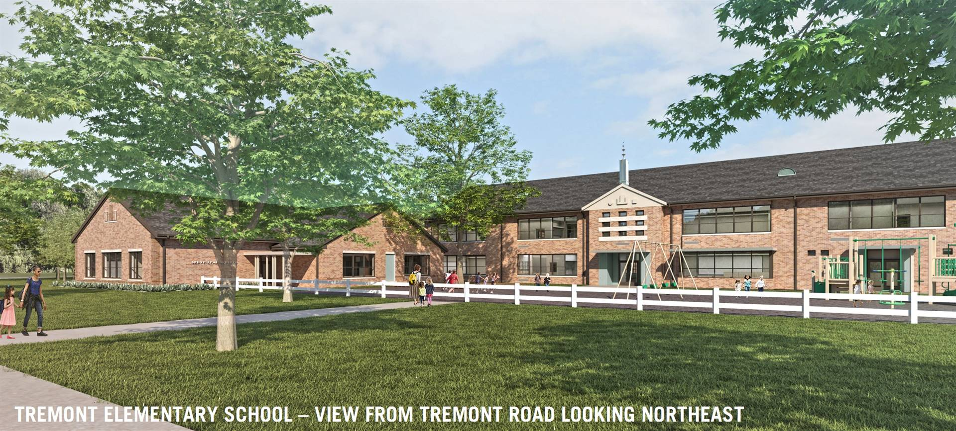 A view from Tremont Road looking northeast on Tremont Elementary School and a new addition