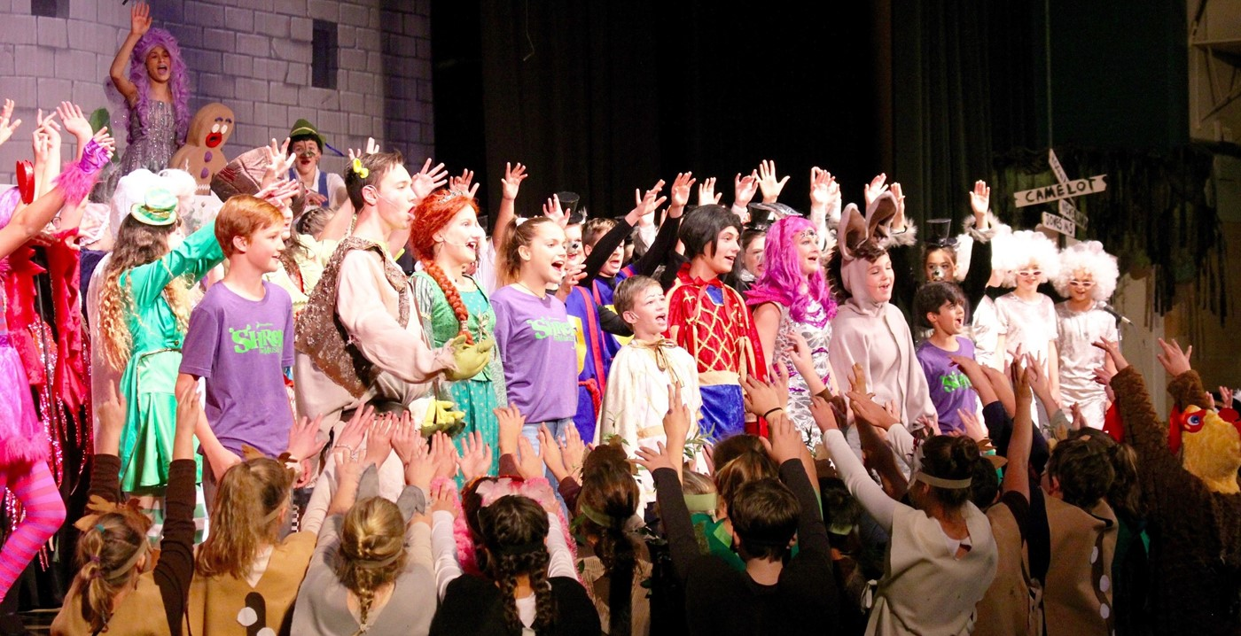 Students performing in the Fall Production of Shrek Jr.