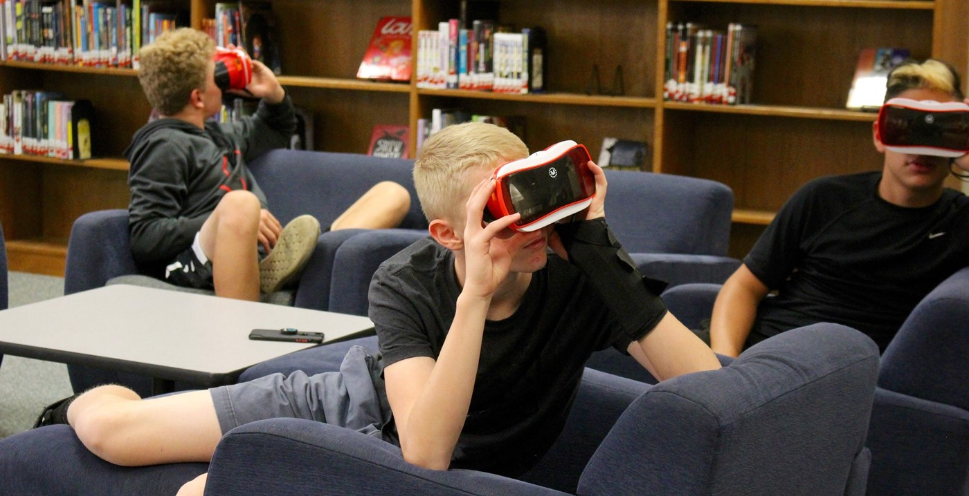 Students using virtual reality headsets in the Jones Learning Center
