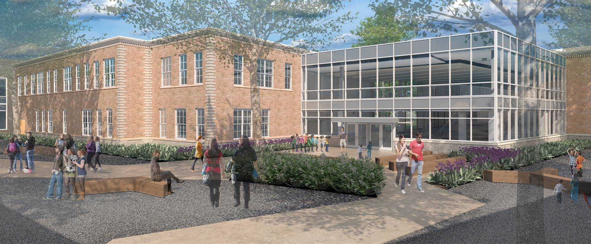 A rendering of a courtyard and new addition to Barrington Elementary School