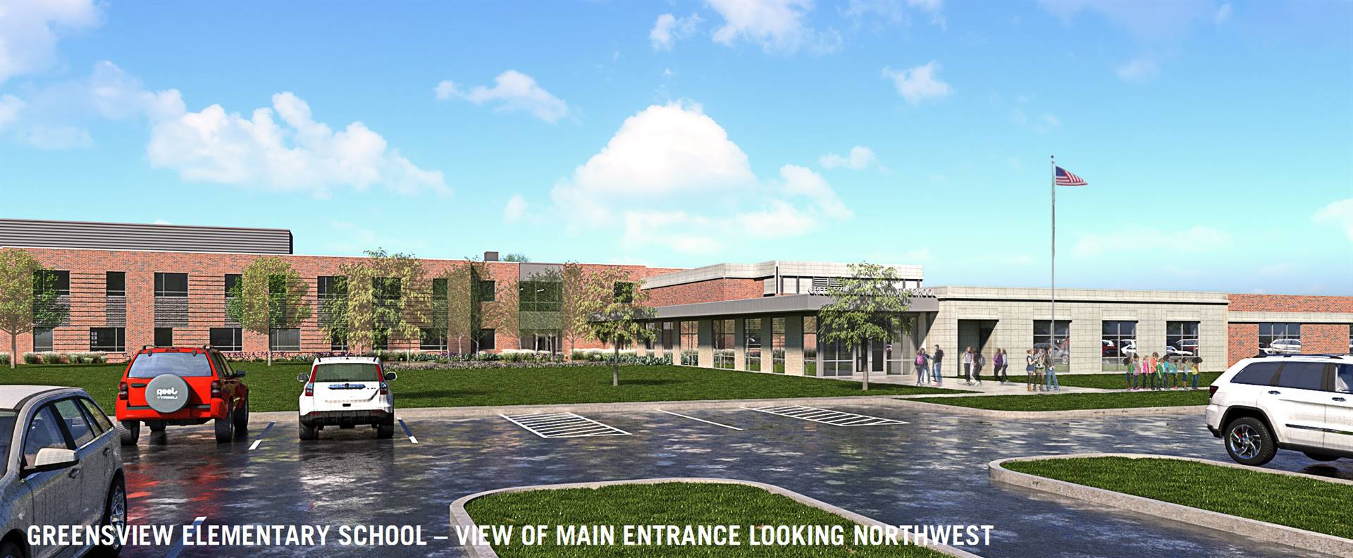 A rendering of the new main entry to Greensview Elementary School