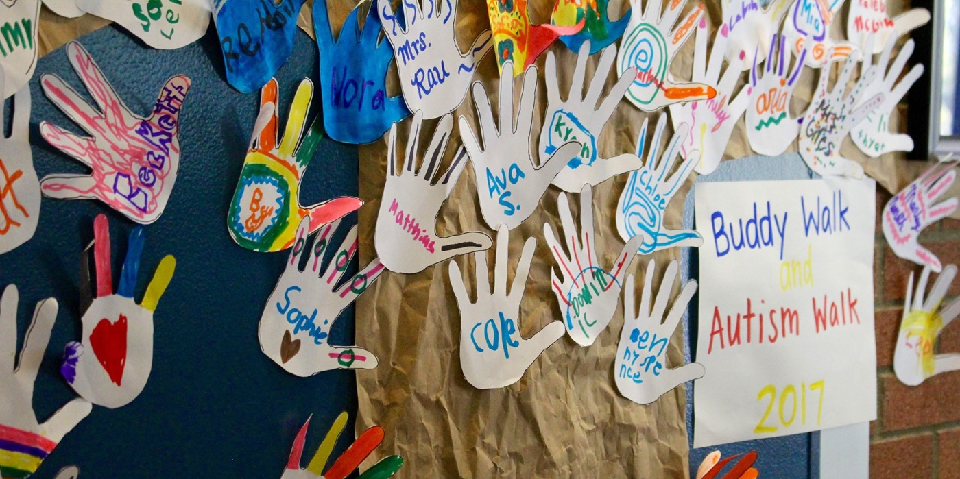 Buddy Walk Autism Walk tree of handprints made by students