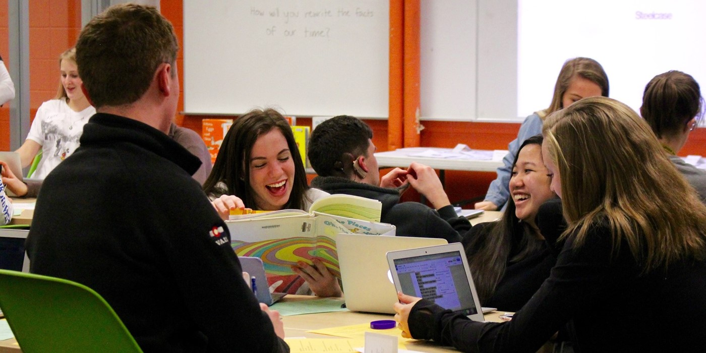 Students laughing during an Idea Day session