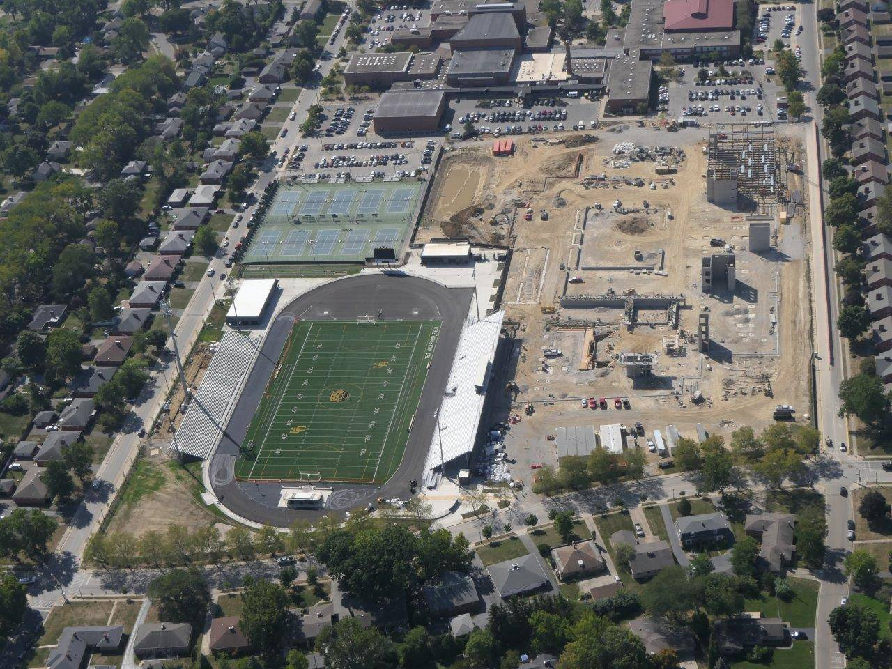 An aerial of the Upper Arlington High School site looking south