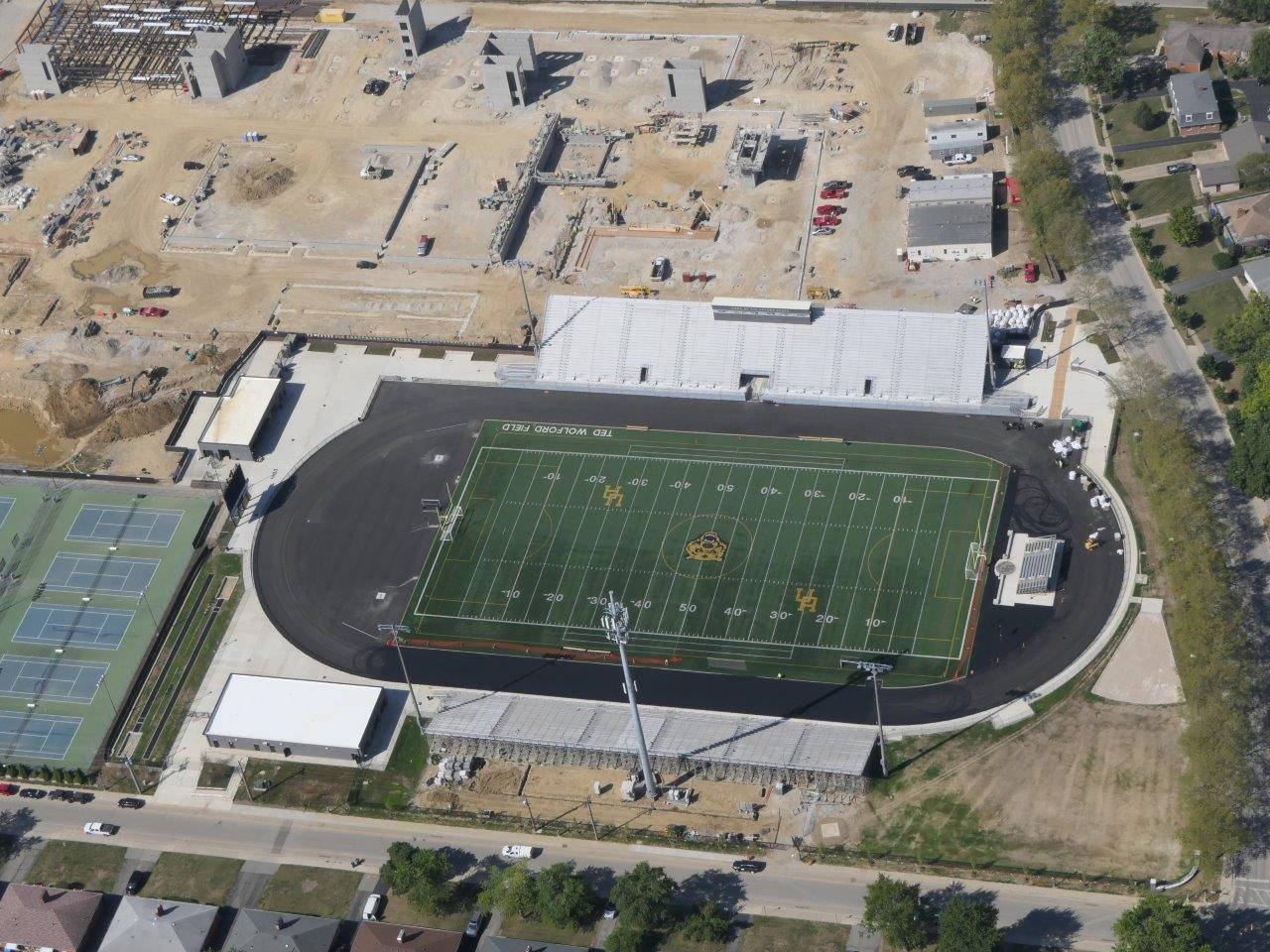 An aerial of the renovated Marv Moorehead Memorial Stadium