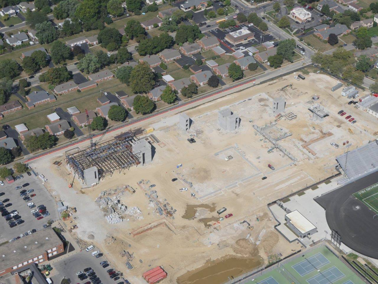 An aerial of construction of the new Upper Arlington High School looking northeast