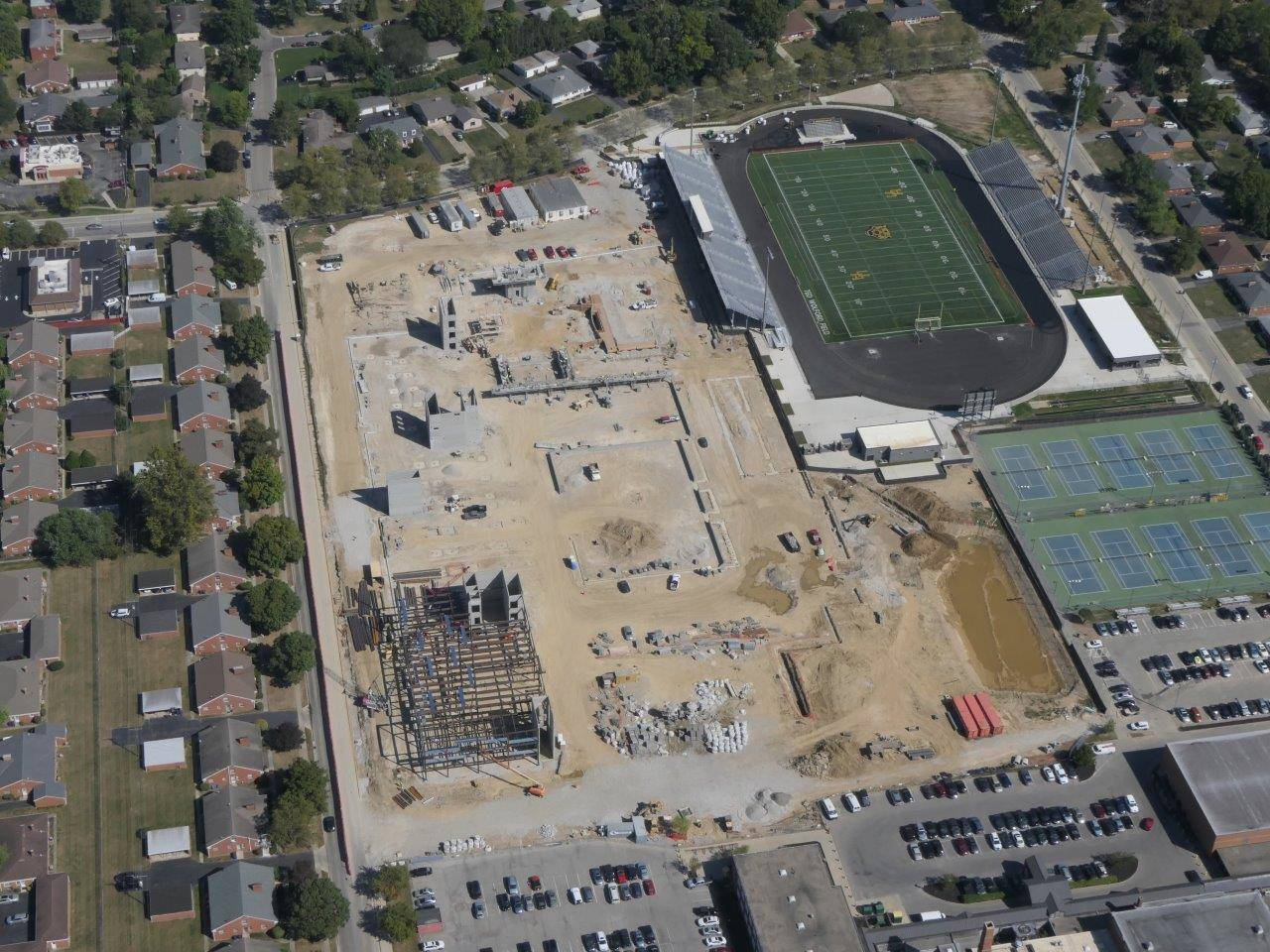 An aerial of construction of the new Upper Arlington High School looking north