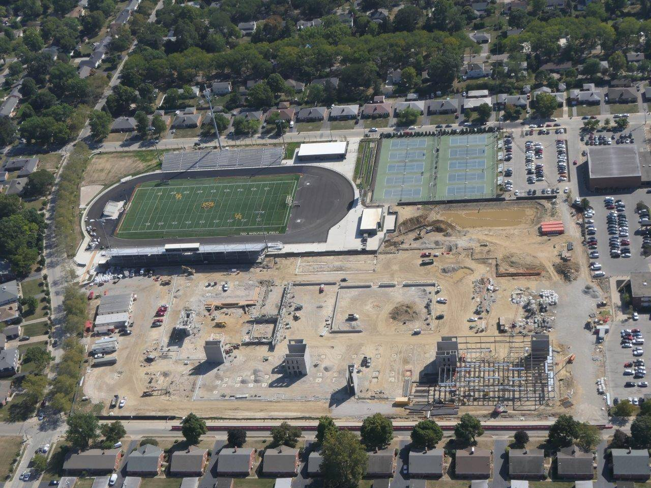 An aerial of construction of the new Upper Arlington High School looking east