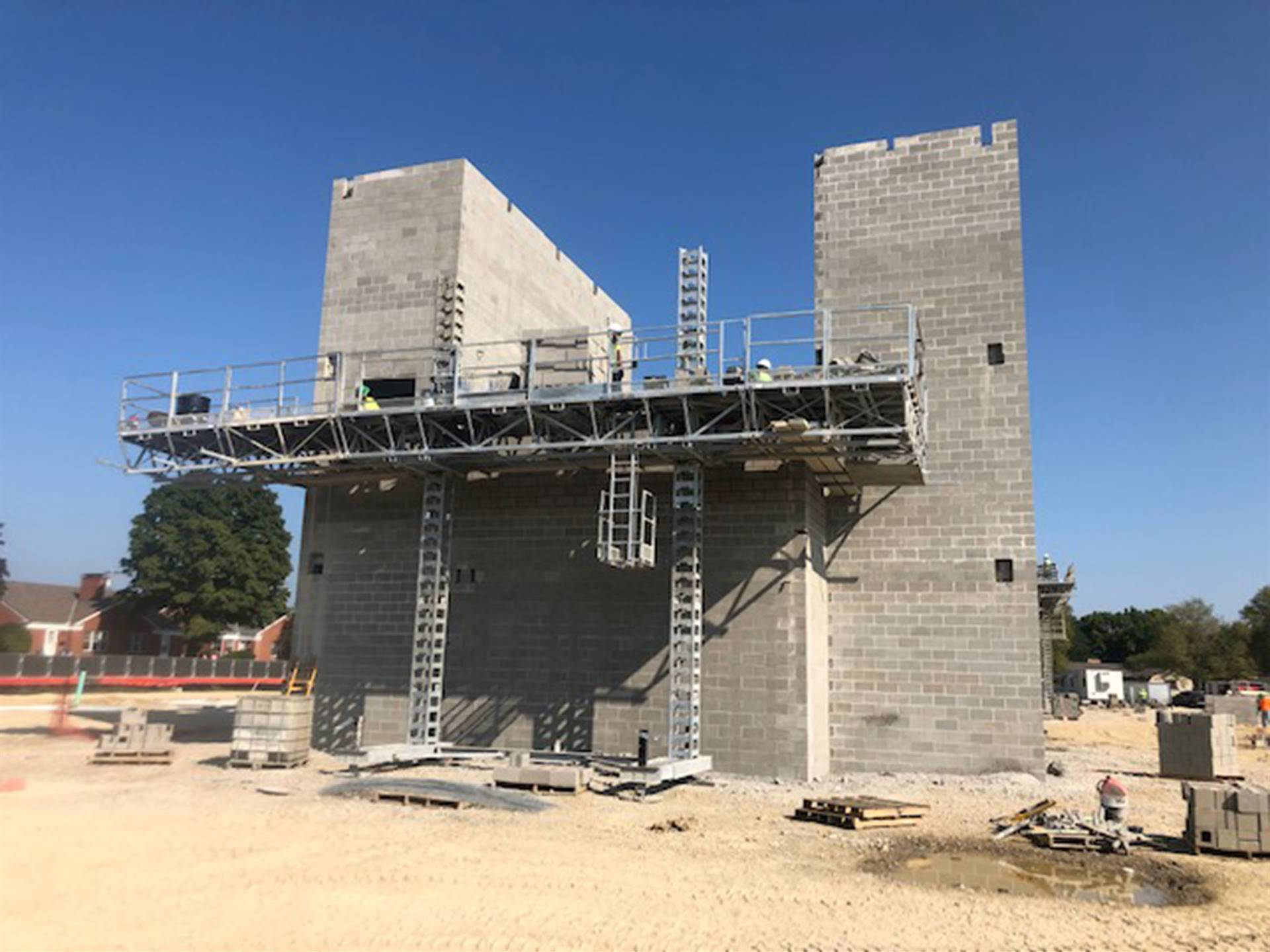 Masonry work on the new high school building