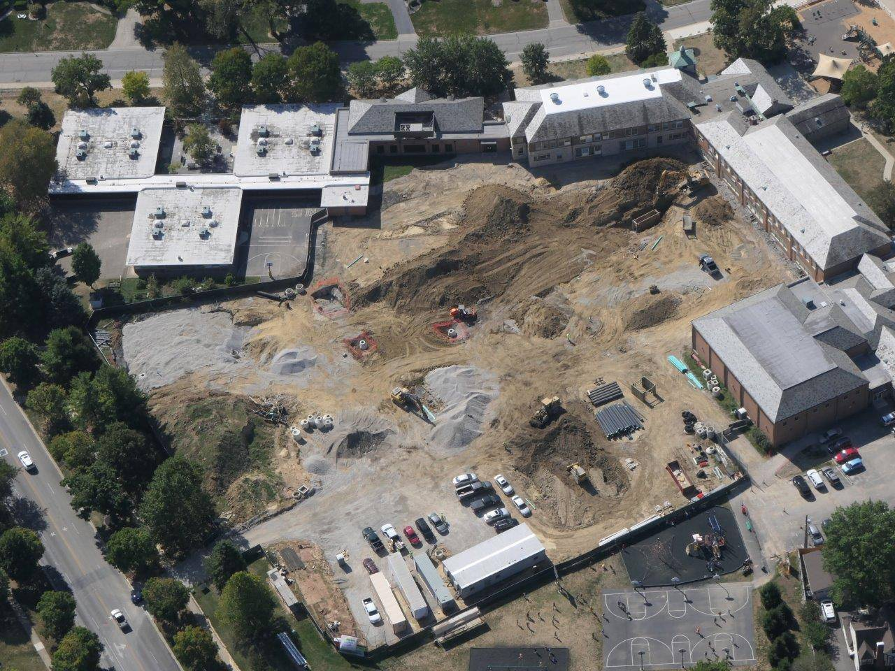 An aerial of work on the Barrington Elementary School addition project