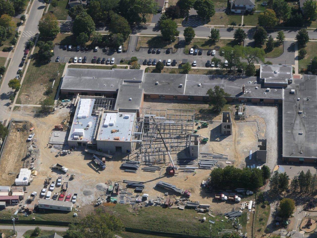 An aerial of work on the new Greensview Elementary School