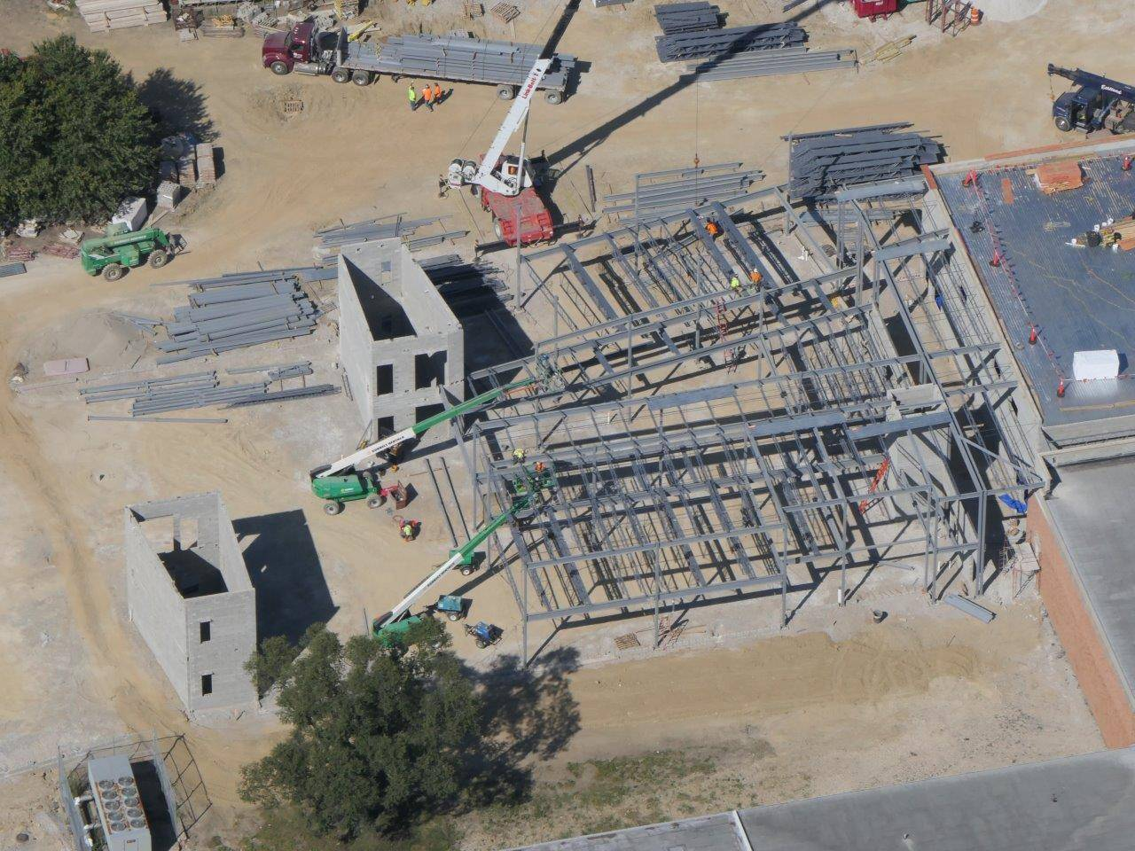 An aerial of the structural steel installation on new academic space at Greensview