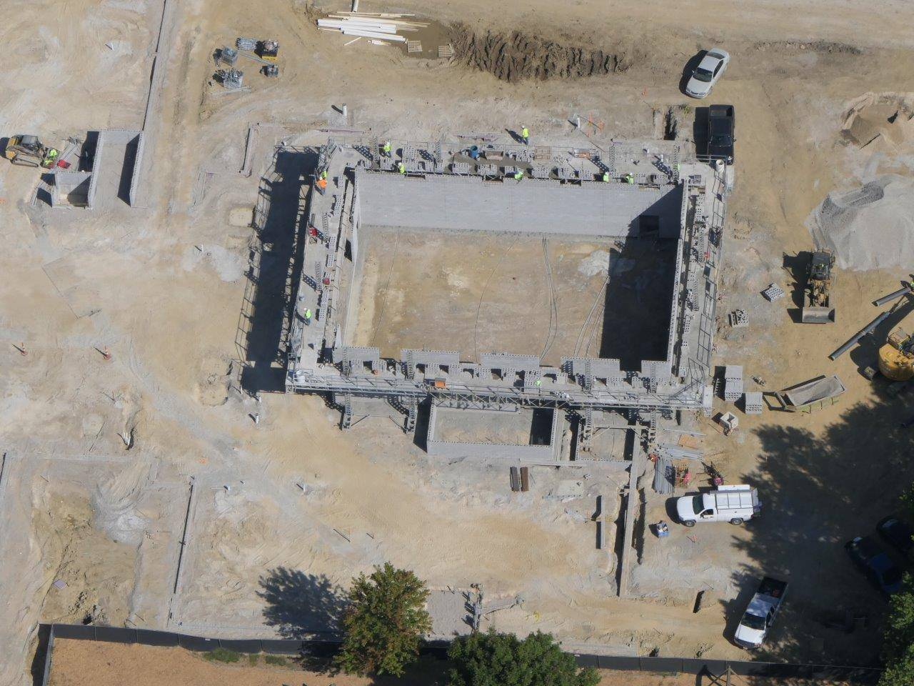 An aerial of masonry work on the gymnasium for the new Wickliffe