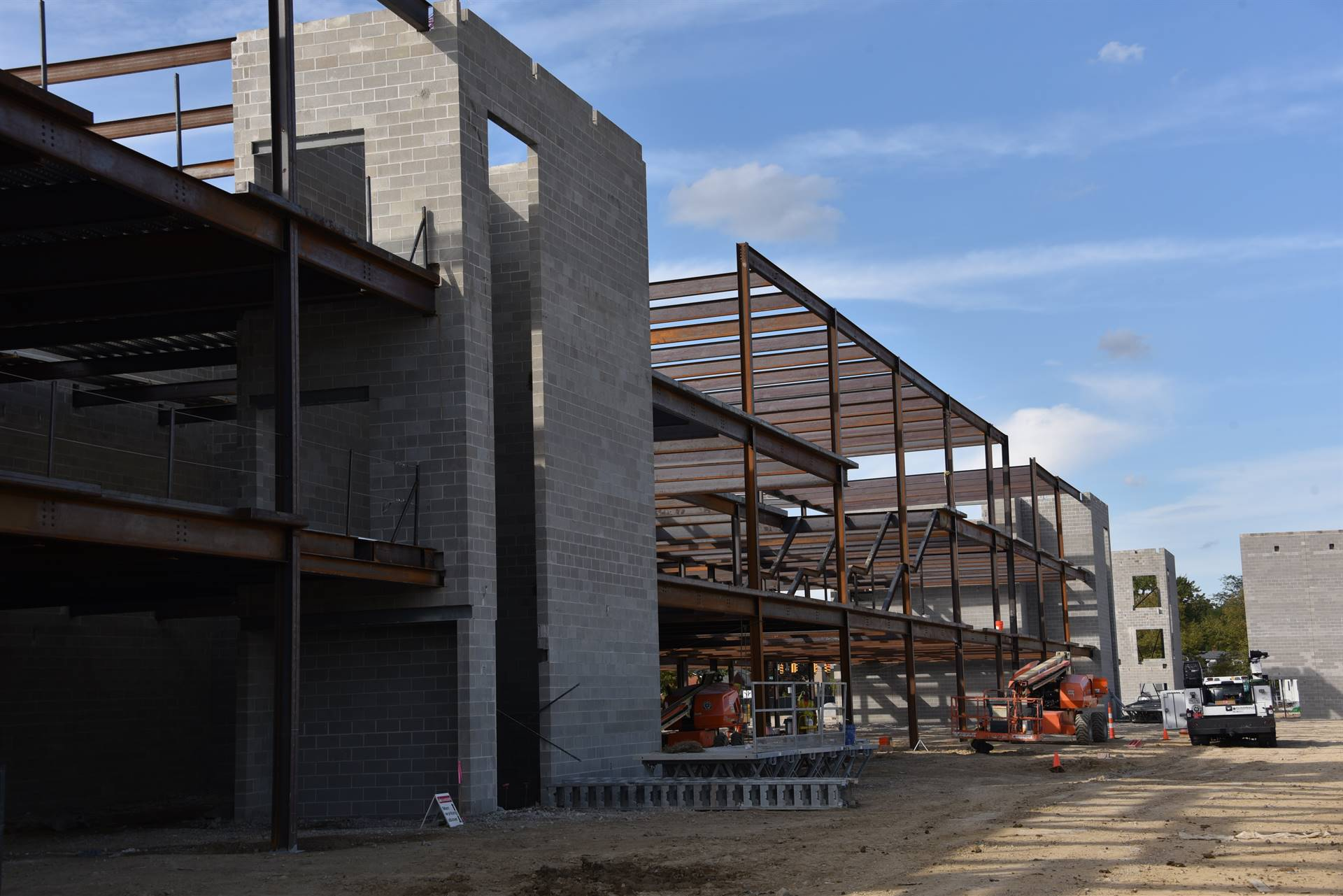 Structural steel installation on the new high school academic wing