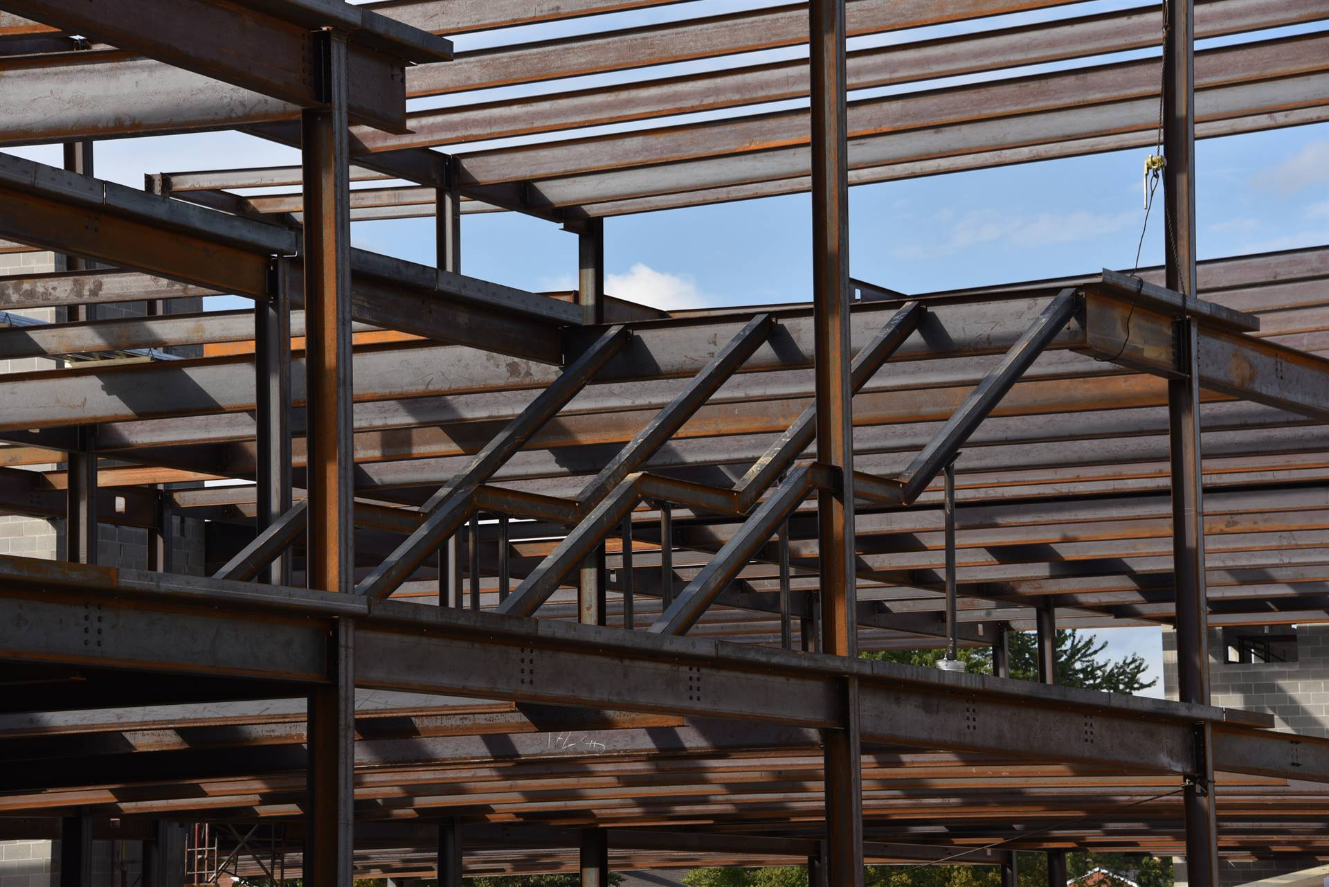 Structural steel installation on the new high school