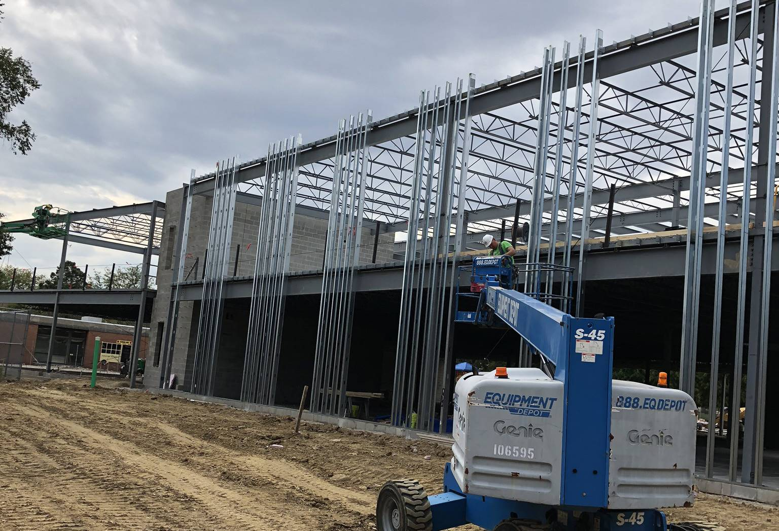 Exterior structural framing on the new Greensview Elementary School