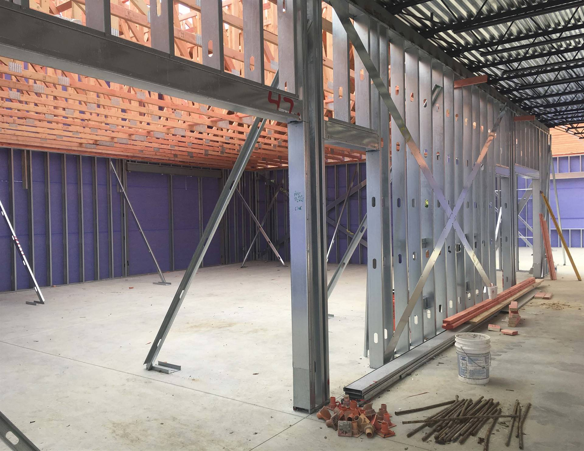 Interior framing on the Tremont Elementary School addition project