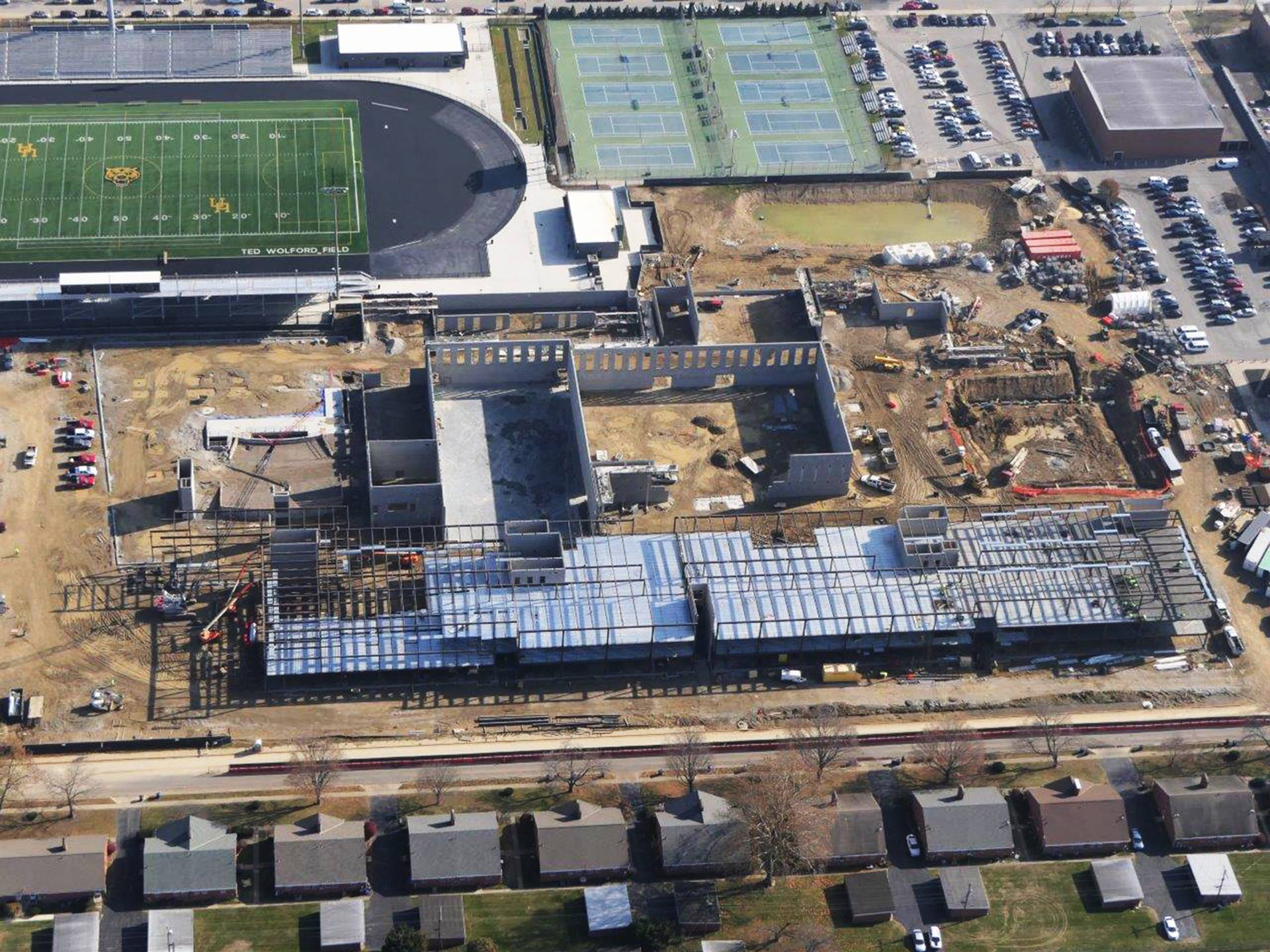 An aerial of the new Upper Arlington High School looking east