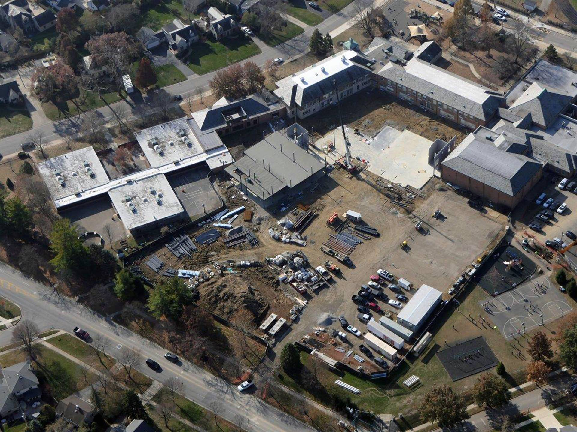 An aerial of the Barrington Elementary School addition projectt