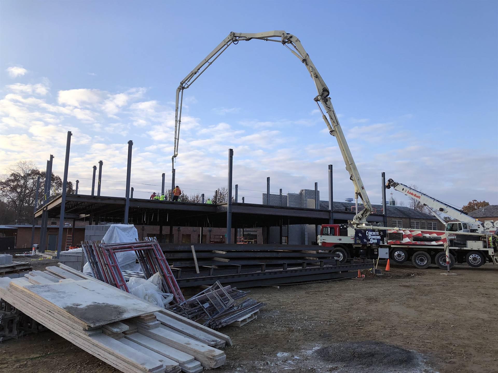 Concrete decking pour at Barrington Elementary School