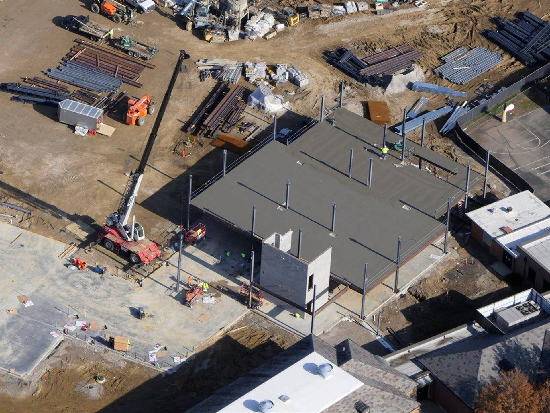 An aerial of the Barrington Elementary School addition project