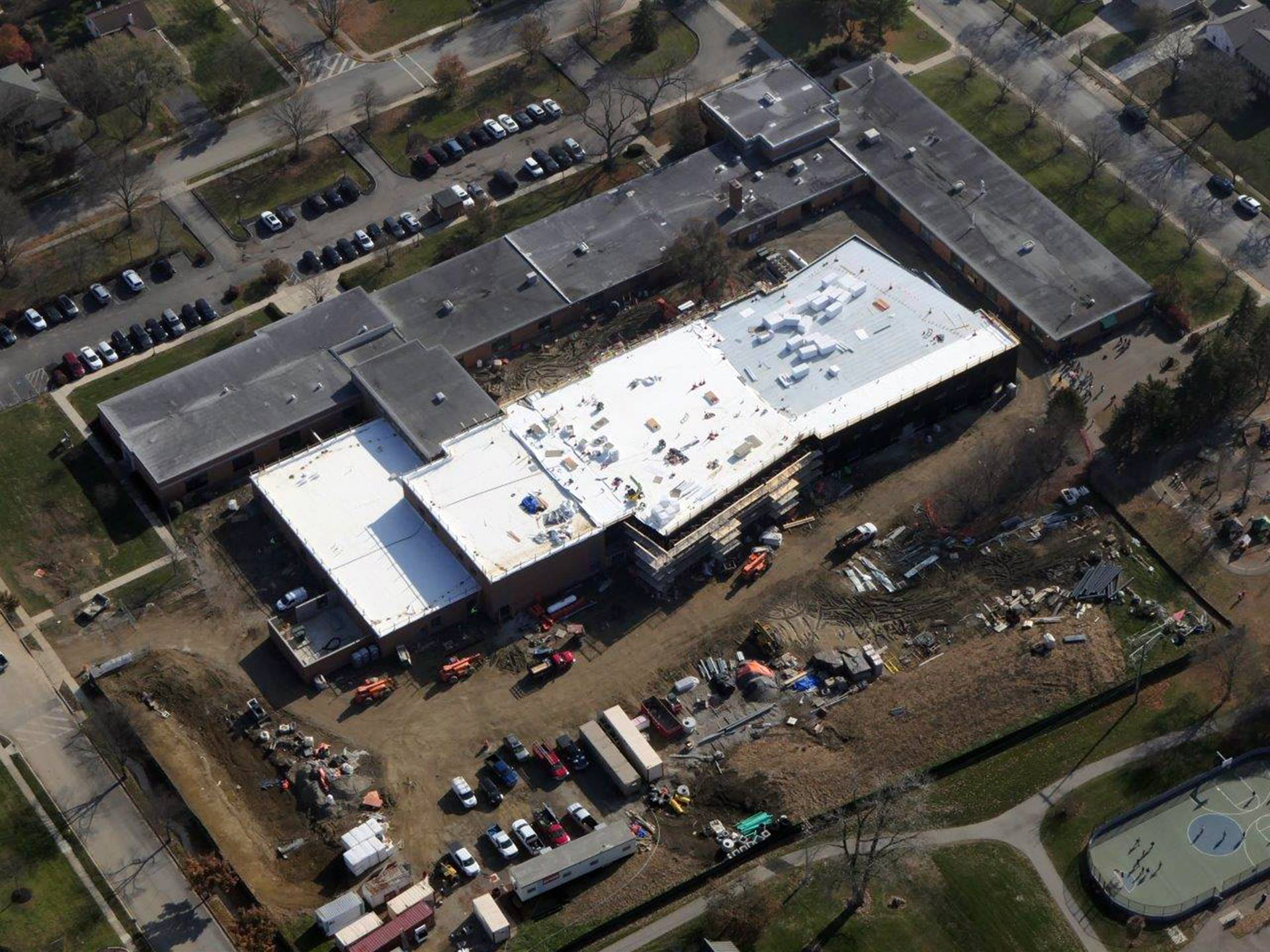An aerial of the Greensview Elementary School project