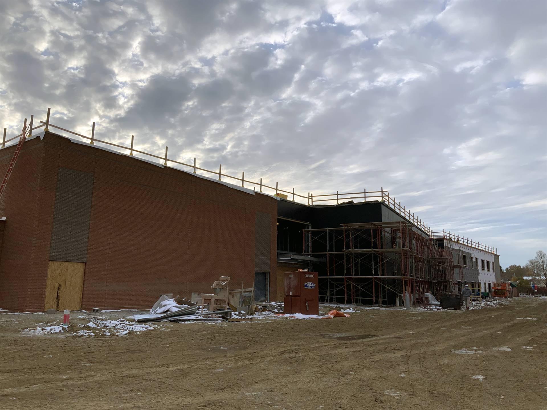 Brick veneer work at Greensview Elementary School