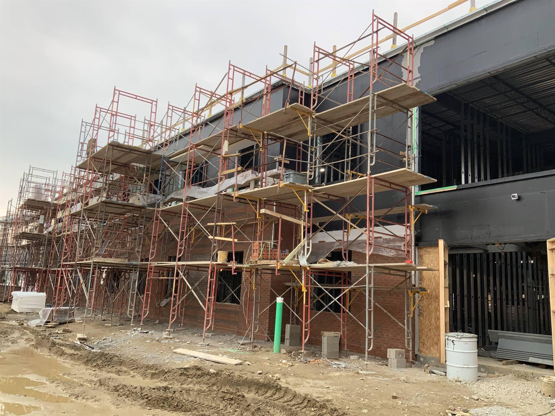 Brick veneer work on the Greensview Elementary School project