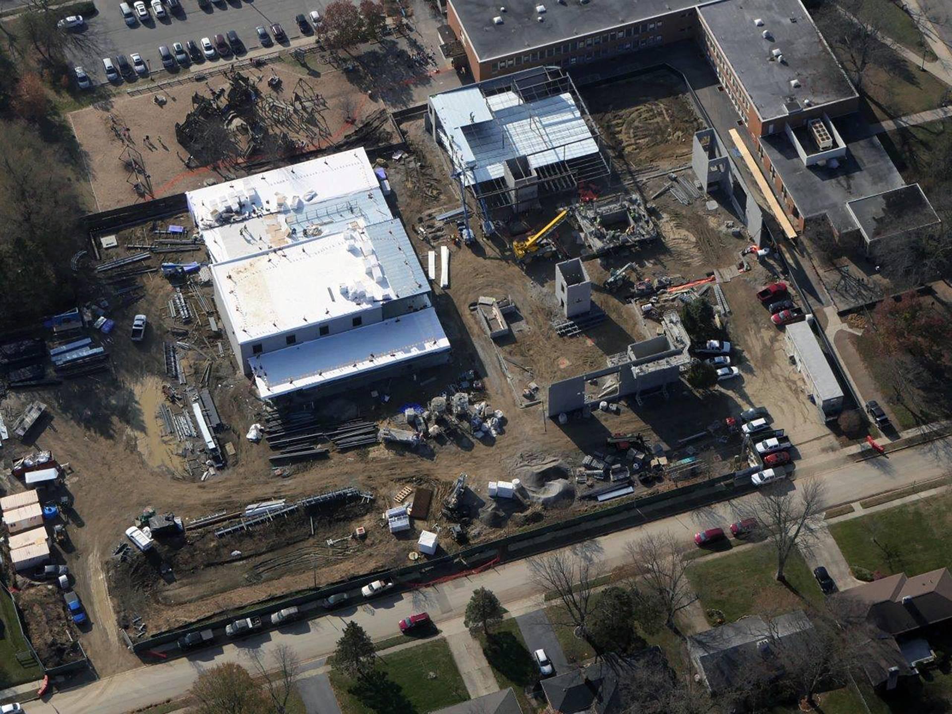 Aerial of progress on the new Wickliffe Progressive Elementary School
