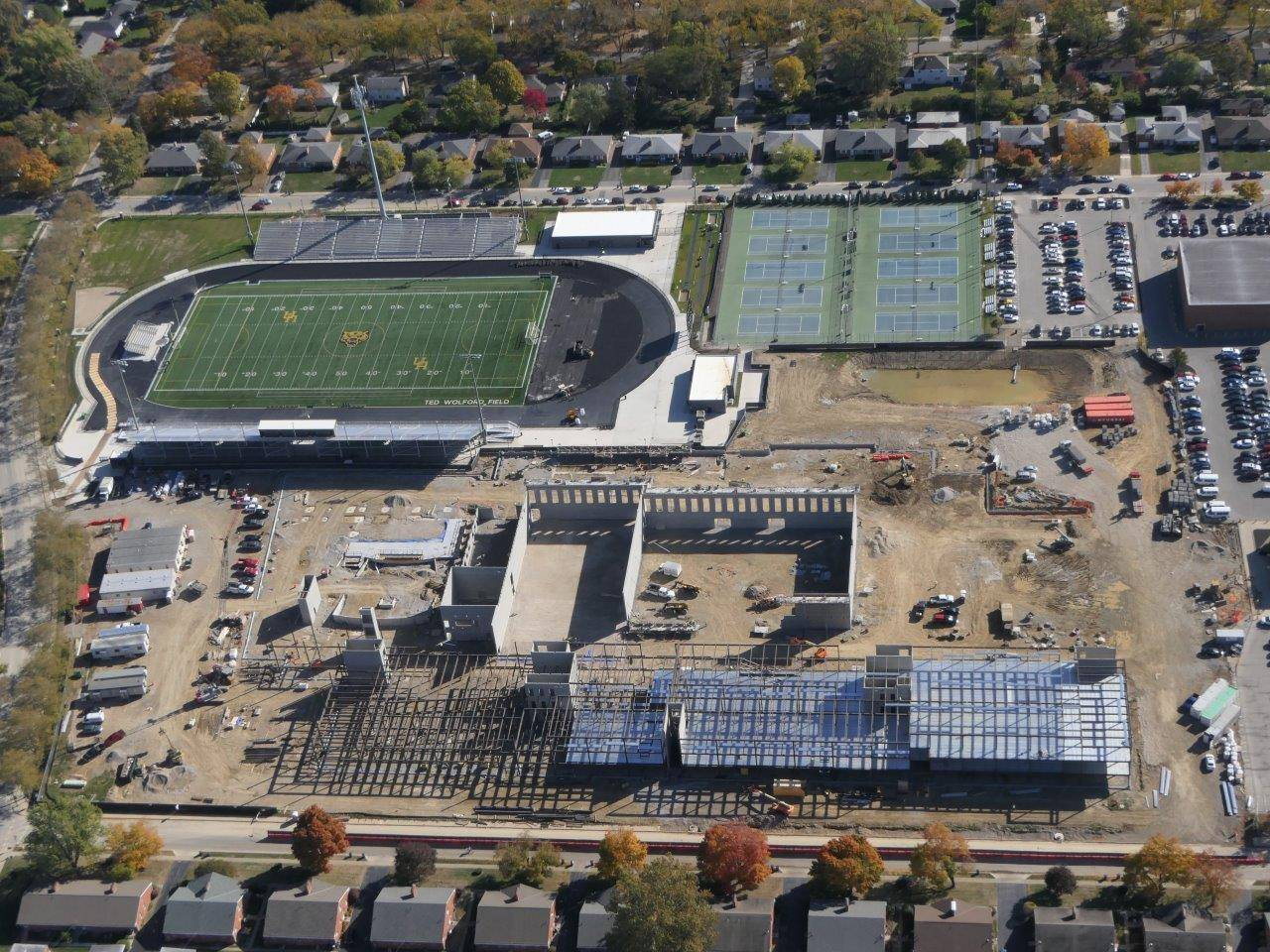 Aerial photo looking east on the Upper Arlington High School site