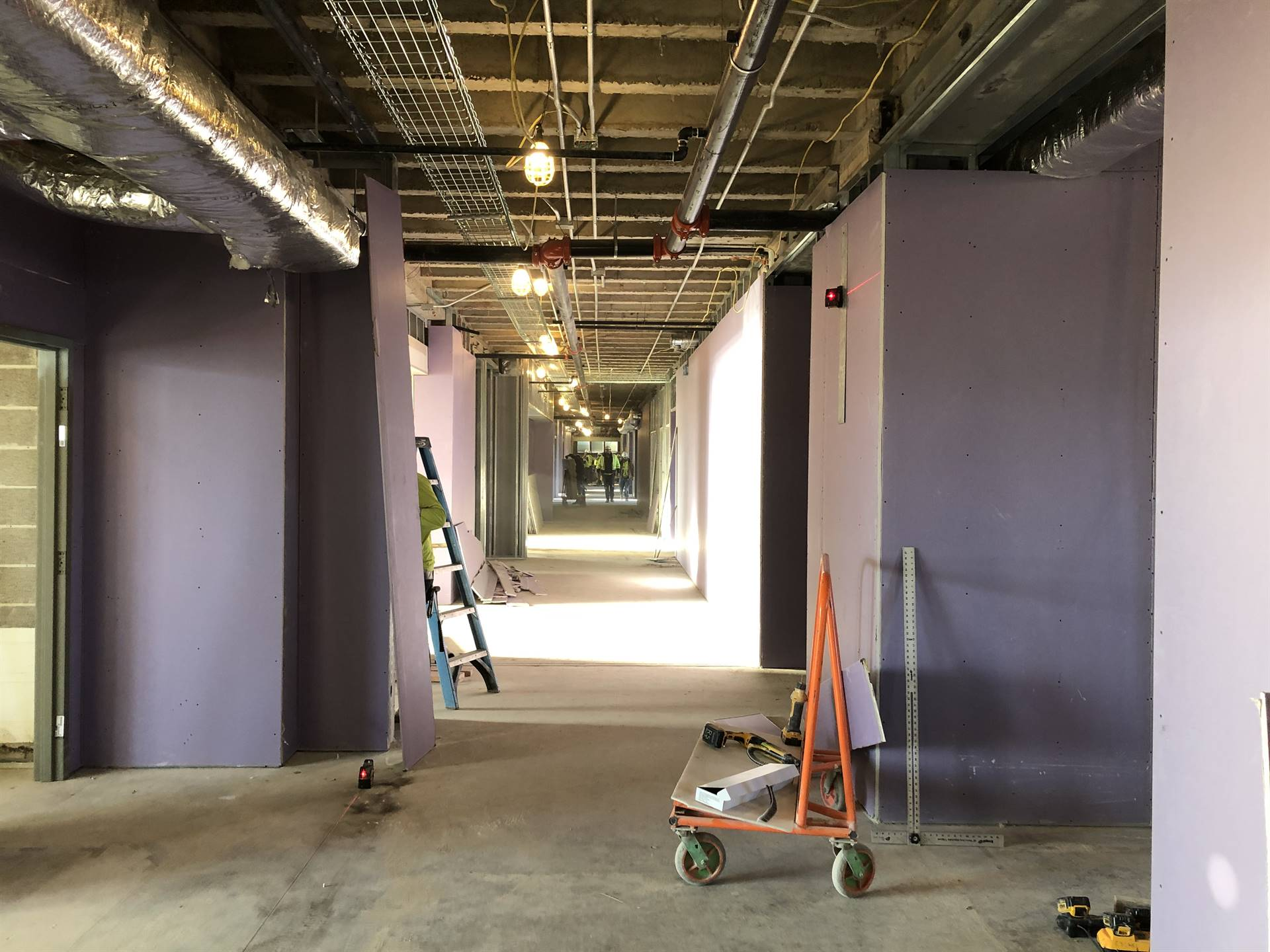 Interior drywall installation on the renovated second floor classrooms at Tremont