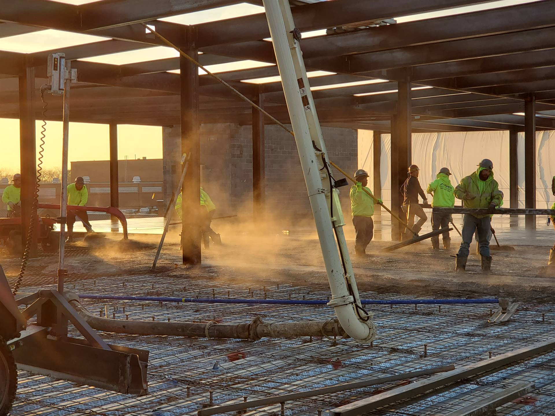 Third floor academic area pouring concrete decking