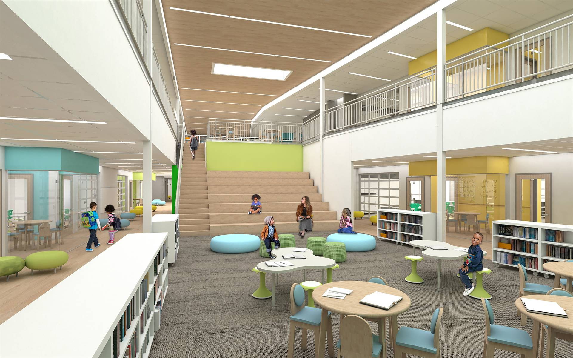 An interior view of the new media center, with a learning staircase and flexible seating