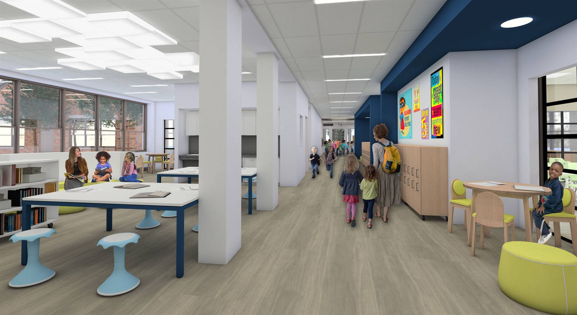 "A collaborative ""commons"" area for a learning neighborhood of classrooms"