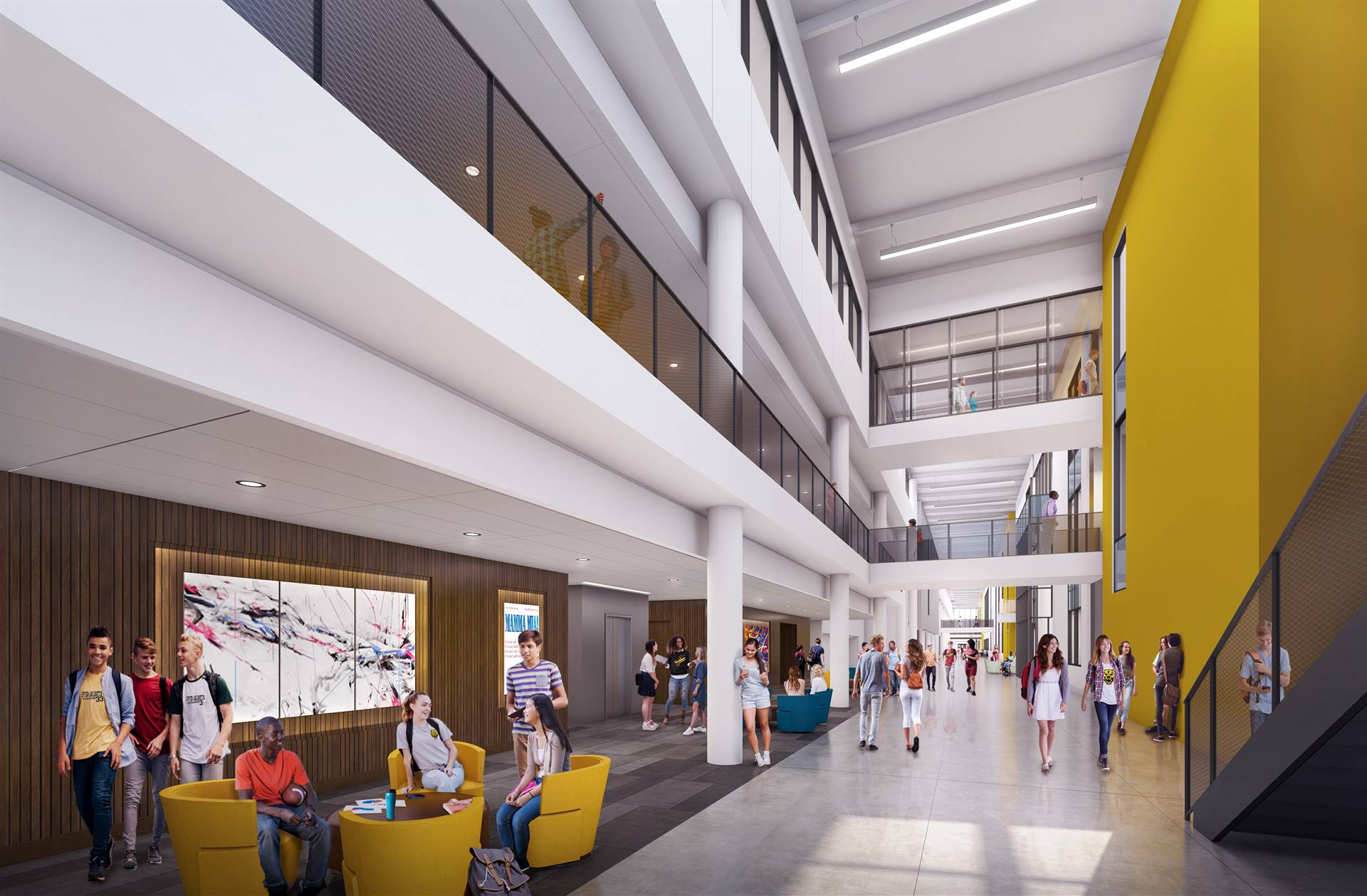 A view of Golden Bear Boulevard inside the new school